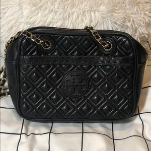 Authentic Tory Burch Black Leather Shoulder Bag